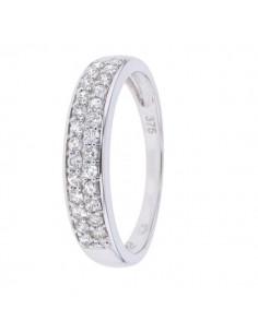 Bague pavage bombé diamants en or blanc