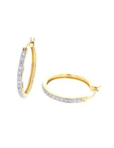 Boucles d'oreilles créoles pavées de diamants en or jaune