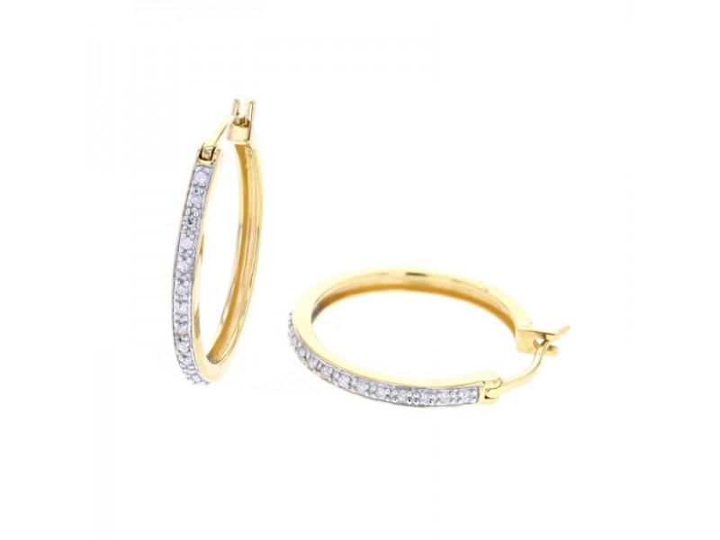 Classic pave set diamond hoops in 18 K gold