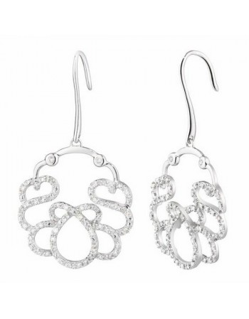 Filigree diamond hoops in silver 925/1000