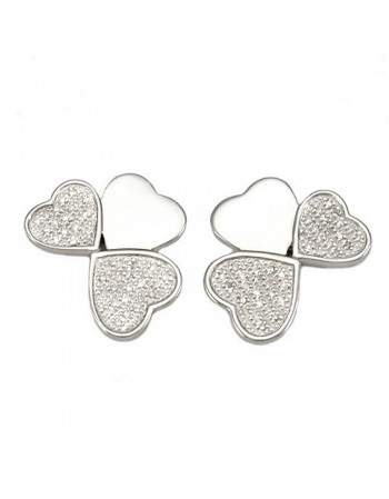 Heart shape diamond set earrings in silver 925/1000
