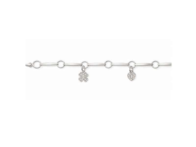 Charm bracelet with diamonds in silver 925/1000