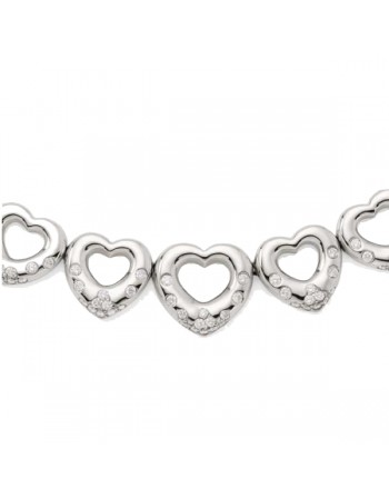 Pave set heart pendant on rings in silver