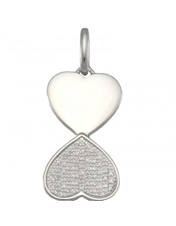 Hearts shape diamond pave set pendant in silver