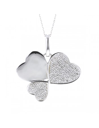 Hearts shape diamond pave set pendant in silver 925/1000