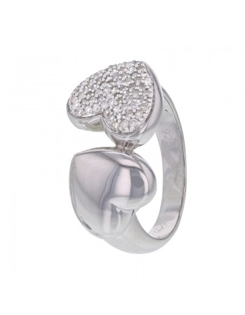 Heart pave set ring with diamonds in silver 925/1000