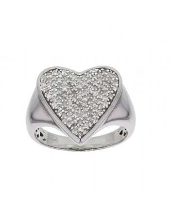 Heart pave set ring with diamonds in silver