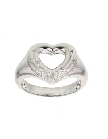 Open heart ring with diamonds in silver