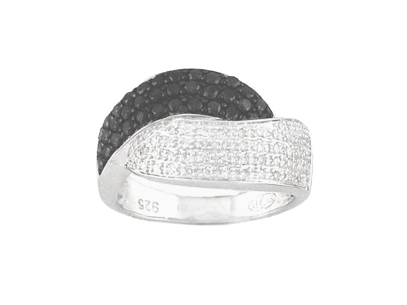 Black and white diamond ring in silver