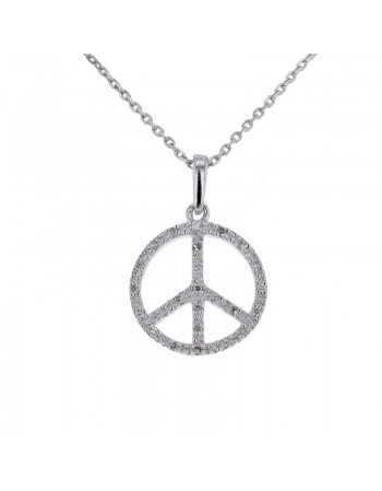Peace pave set diamonds pendant in silver