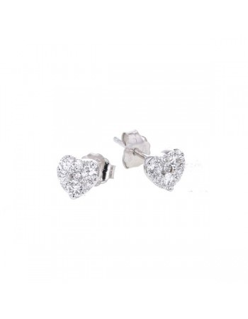 Boucles d'oreilles sertis illusions coeurs diamants en or blanc