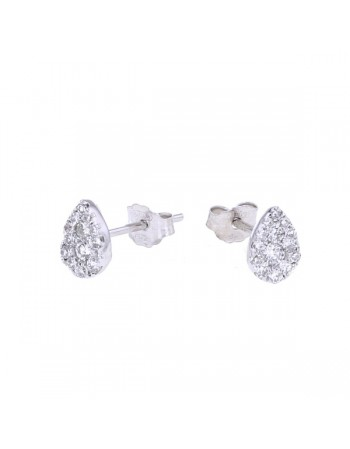 Illusion setting pear shape diamond earrings in 18 K gold
