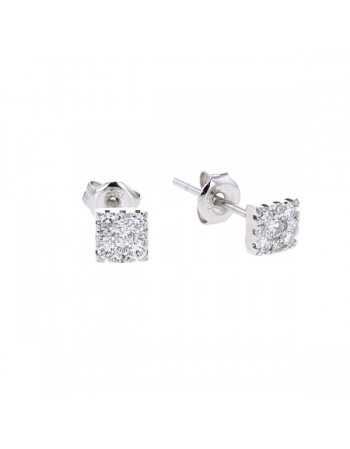 Illusion setting square shape diamond earrings in 18 K gold
