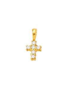 Pendentif croix diamants sertis sur griffes en or jaune