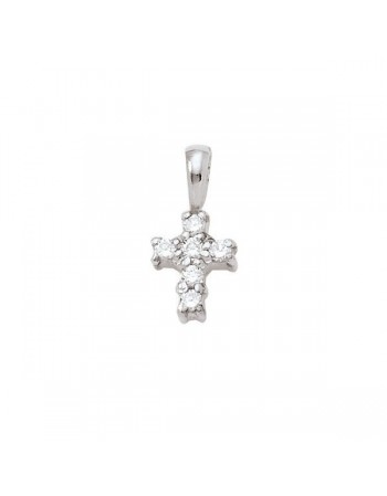 Diamond cross pendant in 18 K gold