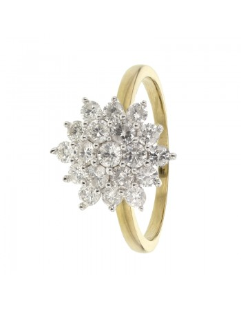 Cluster multi-stone diamond ring in 18 K gold