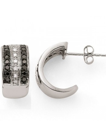 Hoop earrings with multi-strands black and white diamonds in 18 K gold