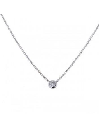 Bezel-set solitaire diamond necklace in 18 K gold