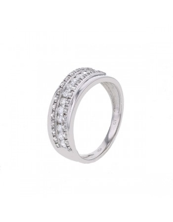 Channel set diamonds crossover band ring in 18 K gold