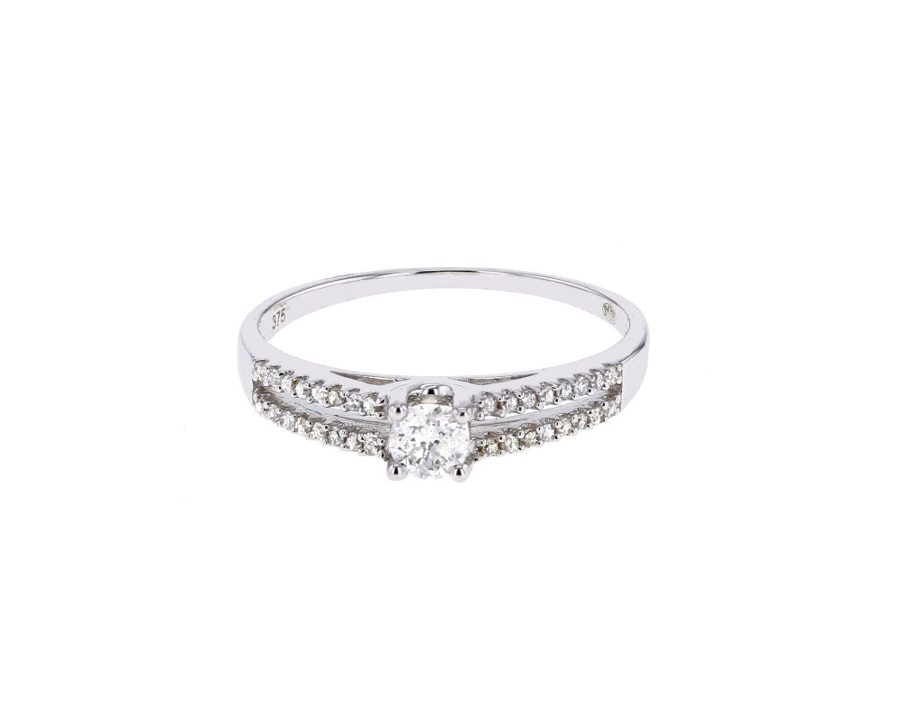 Unique Bague de fiancailles diamant en or blanc 9 carats Diamant: 0.38 carat SI41
