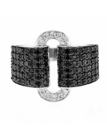 Art deco style black and white pave set diamonds ring in 18 K gold