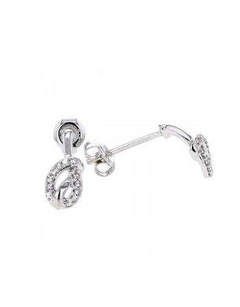Multi-pierre tiebow knot diamonds earrings in 9 K gold