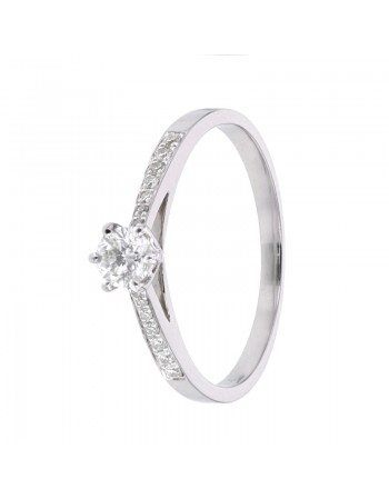 Diamond sided solitaire engagement ring in 9 K gold