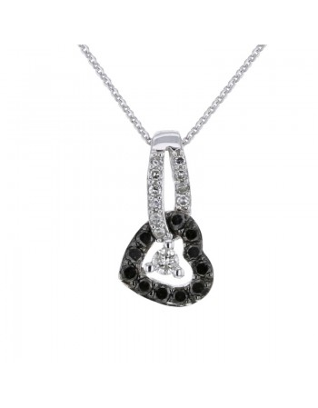 Black and white diamond heart shape pendant in 9 K gold