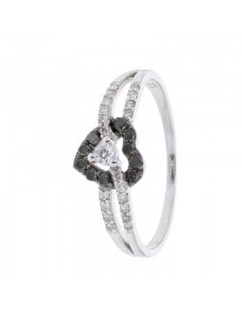 Pave set heart shape ring with black and white diamonds in 9 K gold