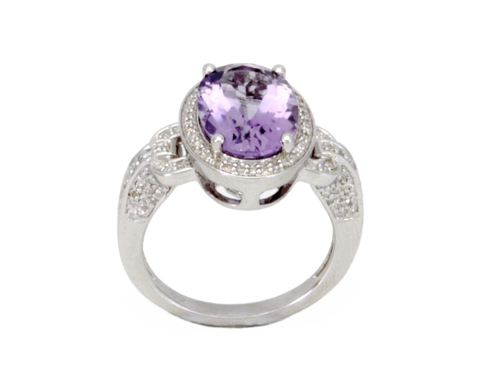 Diamond Engagement Ring Amethyst And Diamond Vintage Style