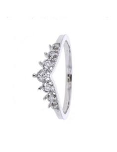 Bague de fiançailles en couronne diamantés en or blanc