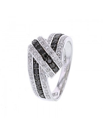 Pave set interlaced ribbon shape white and black diamonds ring in 18 K gold