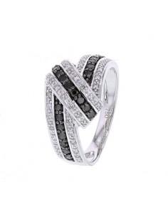 Bague ruban pavé de diamants noirs et blancs en or blanc