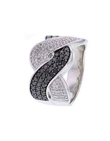 Interlacing pave set black and white diamonds ring in silver