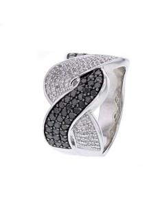 Bague entrelacée avec des diamants noirs et blancs en argent