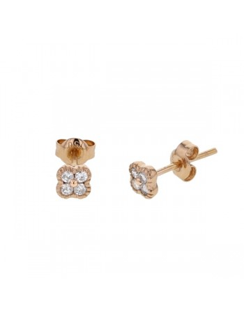 Diamond set clover earrings in 18 K gold