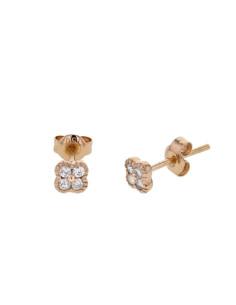 Boucles d'oreilles trèfles avec diamants pm en or rose
