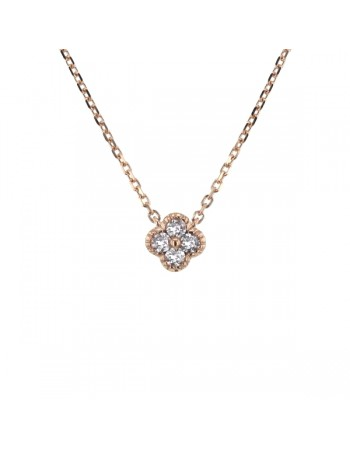Collier trèfles avec diamants gm en or rose