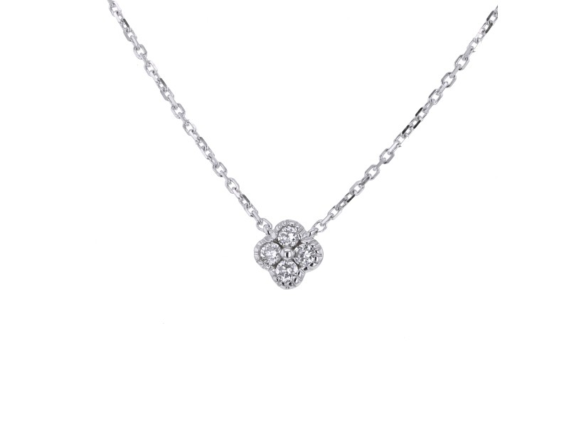 Bien-aimé Collier diamant collier trèfle avec diamants gm en or blanc 18 carats LL01