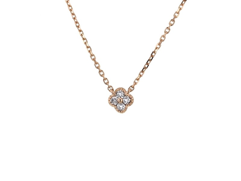 Collier trèfles avec diamants pm en or rose