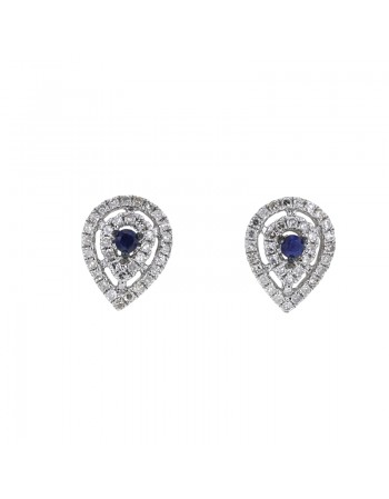Pear shape diamond halo sapphire earrings in 18 K gold