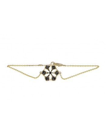 Bracelet flower with black diamonds in 9 K gold