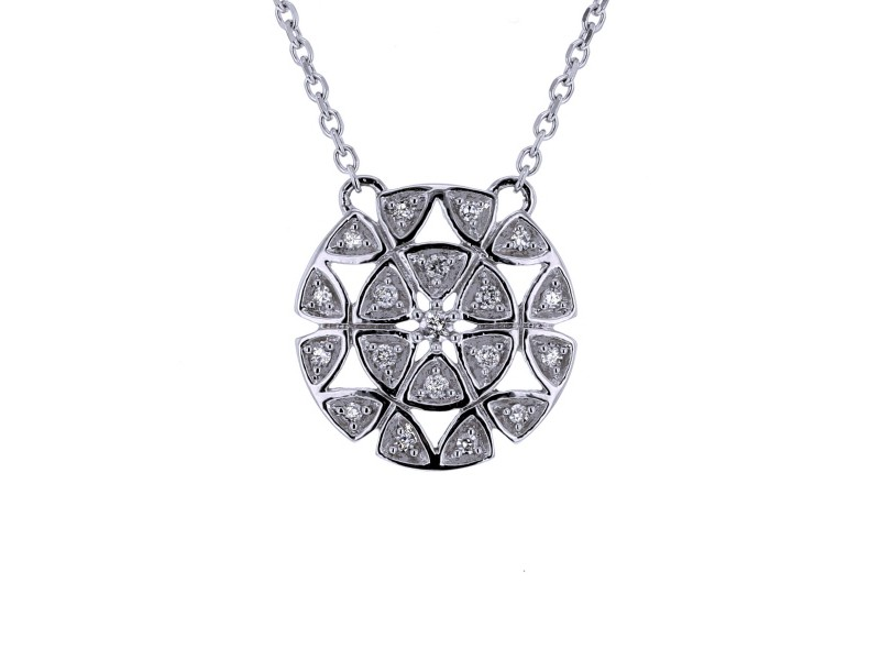 Open circle pave set diamond necklace in 18 K gold