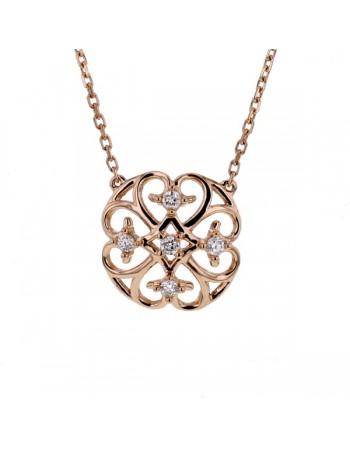 Collier néo-arabesque avec diamants en or rose