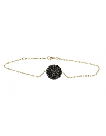 Bracelet with pave set disc black diamonds in 9 K gold