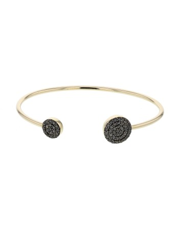 Bracelet canne ronds pavés diamants noirs en or jaune