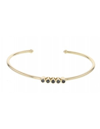 Bracelet canne avec diamants noirs en or jaune