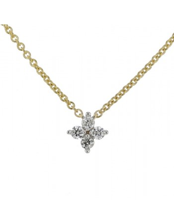 Clover pave set diamond necklace in 9 K gold