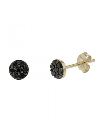 Black diamond set disc earrings in 9 K gold