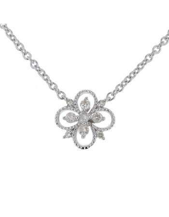 Collier fleur vintage diamants en or blanc